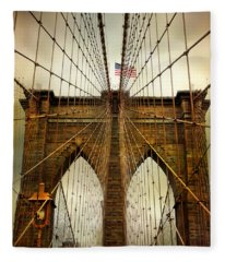 Brooklyn Bridge Twilight Fleece Blanket