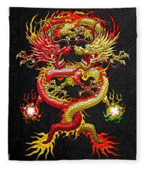 Brotherhood Of The Snake - The Red And The Yellow Dragons Fleece Blanket