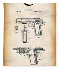 Browning Colt 45 Model 1911 Patent Fleece Blanket