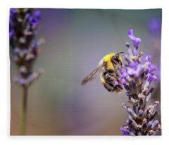 Bumblebee And Lavender Fleece Blanket