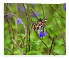 Butterfly In The Garden  Fleece Blanket