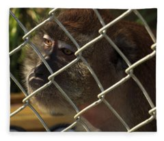 Caged Monkey Fleece Blanket