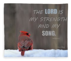 Cardinal In The Snowstorm With Scripture Fleece Blanket