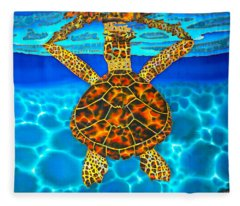 Caribbean Hawksbill Sea Turtle Fleece Blanket
