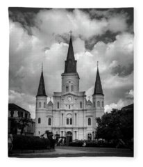 Cathedral With Clouds In Black And White Fleece Blanket