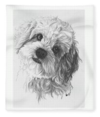 Fleece Blanket featuring the drawing Cava-chon by Barbara Keith