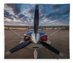 Cessna 182 On The Ramp Fleece Blanket