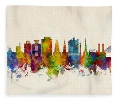 Charleston South Carolina Skyline Fleece Blanket