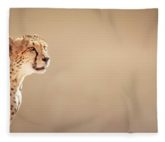 Cheetah Portrait Fleece Blanket