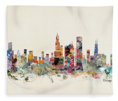 Chicago City Skyline Fleece Blanket