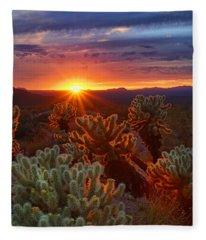 Cholla Sunset  Fleece Blanket