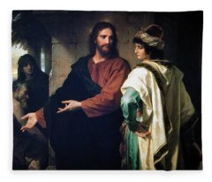 Christ And The Rich Young Ruler Fleece Blanket