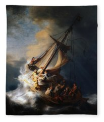 Christ In The Storm On The Lake Of Galilee Fleece Blanket