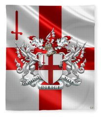 City Of London - Coat Of Arms Over Flag  Fleece Blanket