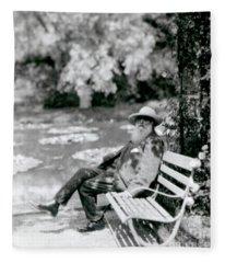 Claude Monet In His Garden Fleece Blanket