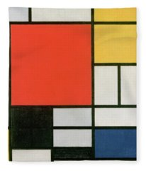 Composition In Red, Yellow, Blue And Black Fleece Blanket