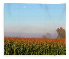 Cornfield Moonset Fleece Blanket