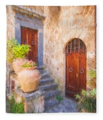 Courtyard Of Tuscany Fleece Blanket