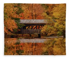 Covered Bridge At Sturbridge Village Fleece Blanket