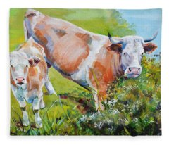 Cow And Calf Painting Fleece Blanket