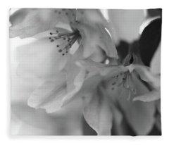 Crabapple Blossom Black And White Fleece Blanket