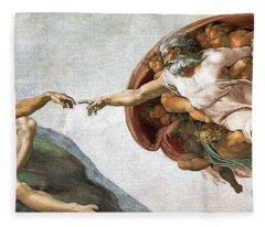 Creation Of Adam Fleece Blanket