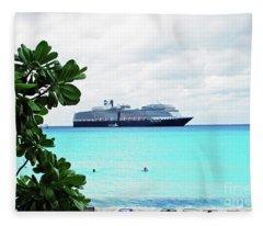 Cruise Ship At Half Moon Cay Fleece Blanket