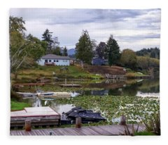 Devils Lake Oregon Fleece Blanket