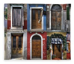doors and windows of Burano - Venice Fleece Blanket