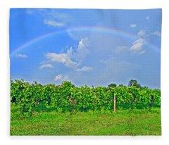 Double Rainbow Vineyard, Smith Mountain Lake Fleece Blanket