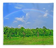 Double Rainbow Vineyard, Smith Mountain Lake Fleece Blanket