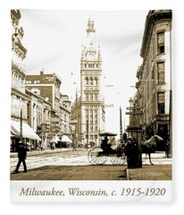 Downtown Milwaukee, C. 1915-1920, Vintage Photograph Fleece Blanket