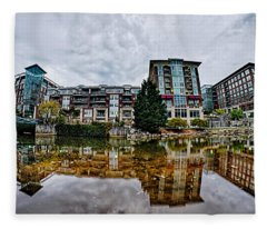 Downtown Of Greenville South Carolina Around Falls Park Fleece Blanket