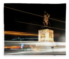 Drake's Statue Traffic Trails Iv Fleece Blanket