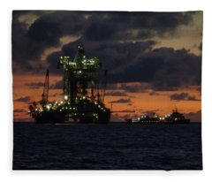 Drill Rig At Dusk Fleece Blanket