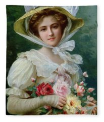 Elegant Lady With A Bouquet Of Roses Fleece Blanket