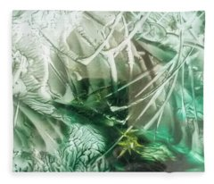 Encaustic Abstract Green Foliage Fleece Blanket