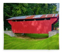 Feedwire Covered Bridge - Carillon Park Dayton Ohio Fleece Blanket