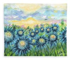 Field Of Blue Flowers Fleece Blanket