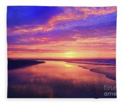 First Light At The Beach Fleece Blanket