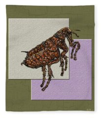 Flea On Abstract Beige Lavender And Dark Khaki Fleece Blanket