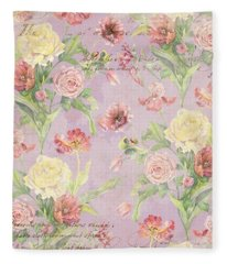 Fleurs De Pivoine - Watercolor In A French Vintage Wallpaper Style Fleece Blanket