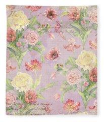Fleurs De Pivoine - Watercolor In A French Vintage Wallpaper Style Fleece Blanket