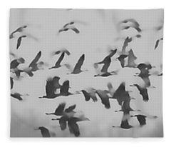 Flight Of The Sandhill Cranes Fleece Blanket