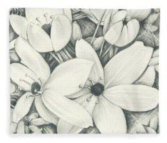 Flowers Pencil Fleece Blanket
