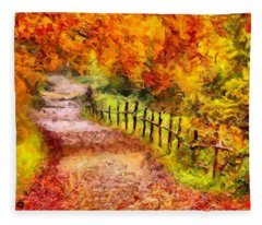 Fall Foliage Path 2 Fleece Blanket