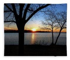 Ford Lake Sunset Fleece Blanket