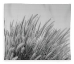 Foxtails On A Hill In Black And White Fleece Blanket