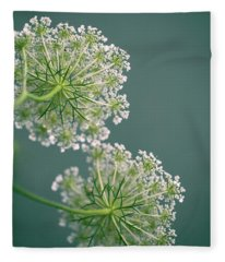 Fragile Dill Umbels On Summer Meadow Fleece Blanket