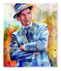 Frank Sinatra Young Painting Fleece Blanket
